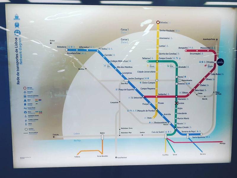 Subway Map Of Lisbon.Lisbon Metro Map Portugal