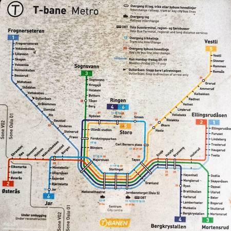 TBane Oslo metro map Norway