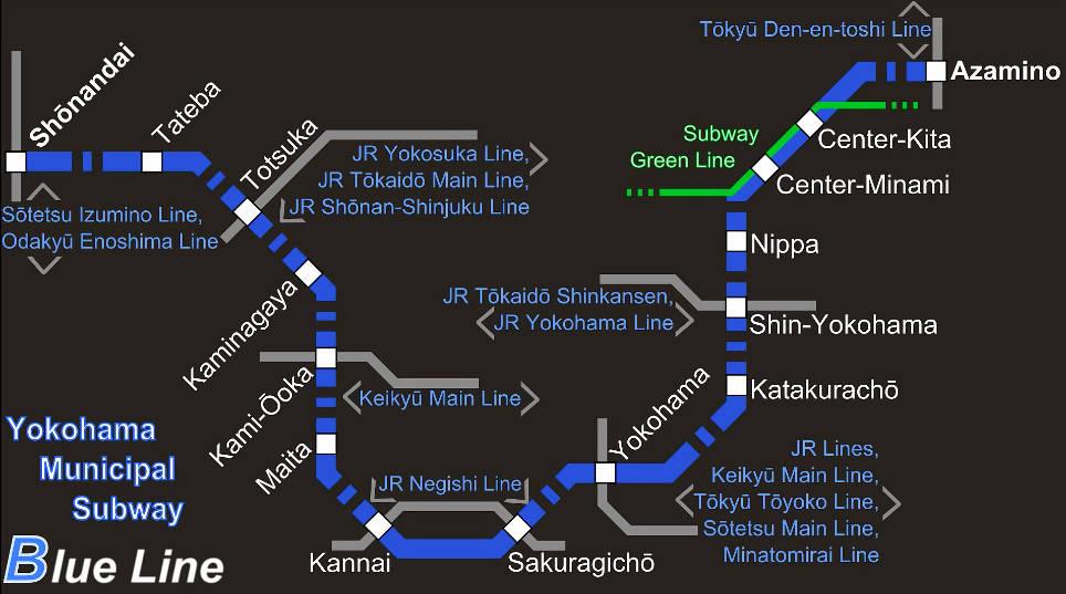 Yokohama Subway Map.Subway Yokohama Metro Map Japan