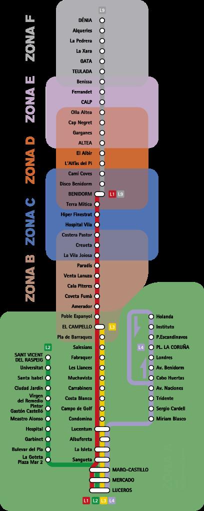 Mapa del metro de Alicante Gran resolucion