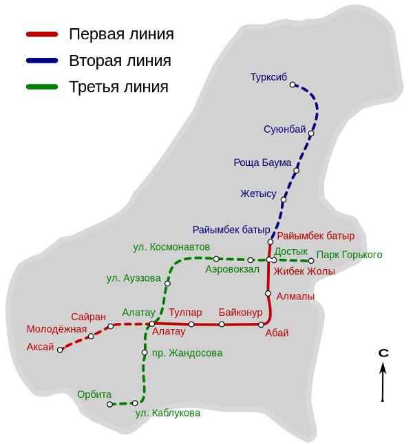 Mapa del metro de Almaty Gran resolucion