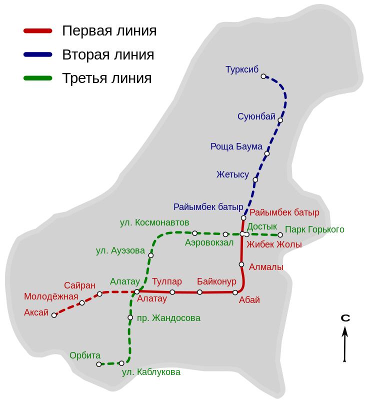 Almaty metro map Kazakhstan