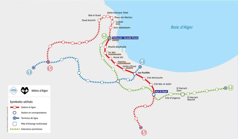 U-Bahn karte Algier voller Auflösung