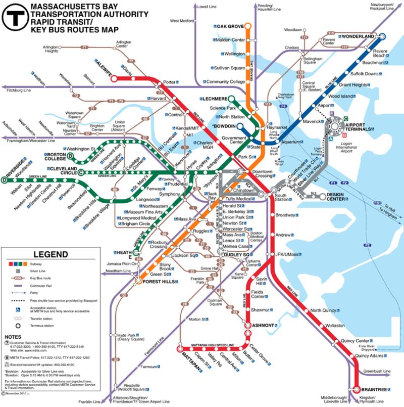 subway map boston ma The T Boston Metro Map United States