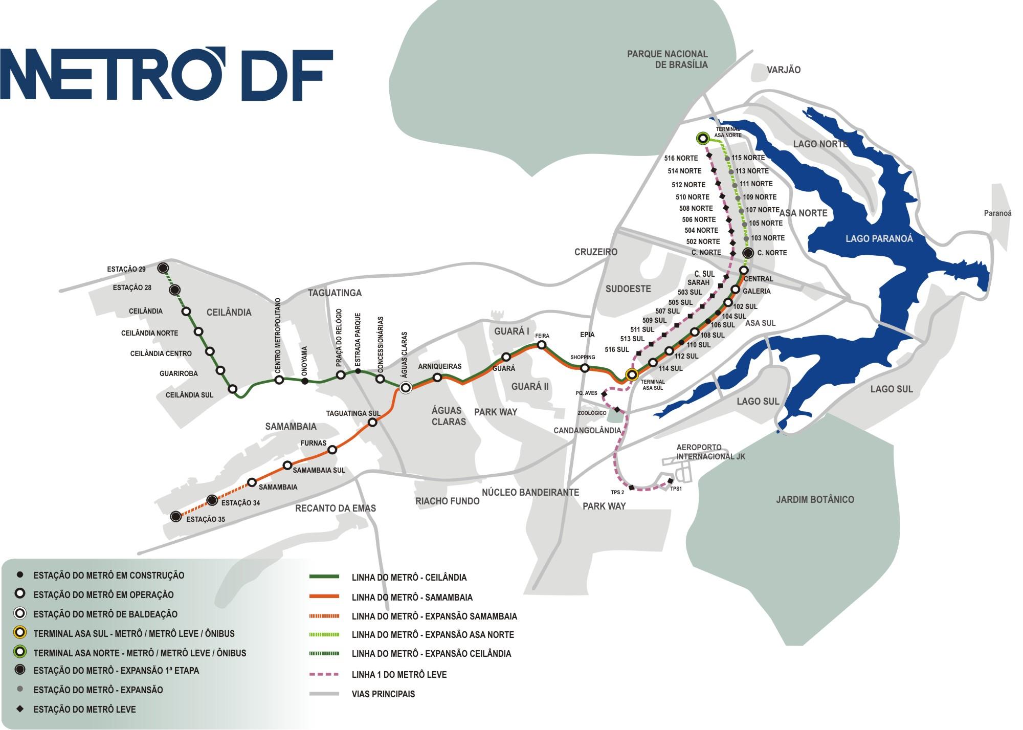 Brasilia metro map Brazil