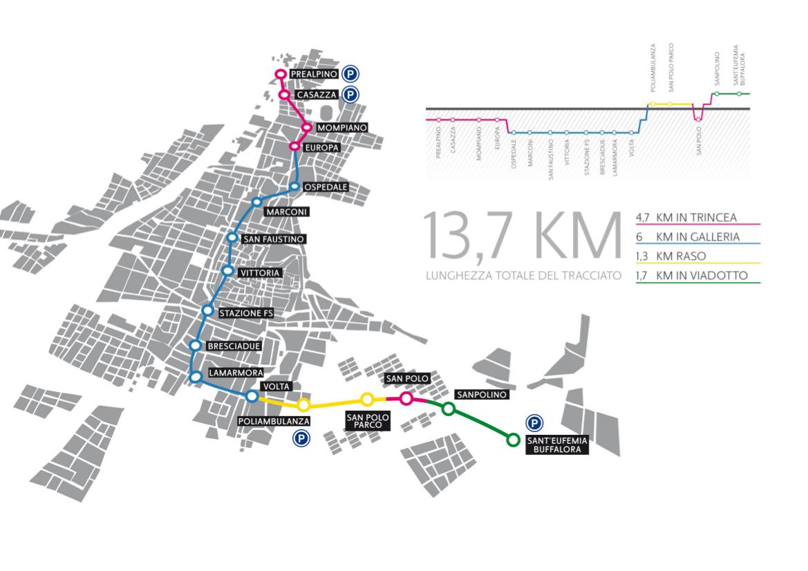 Brescia Metro Map Italy
