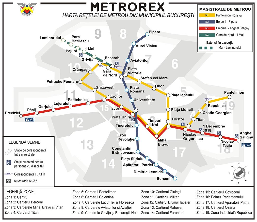 Bucharest metro map, Romania