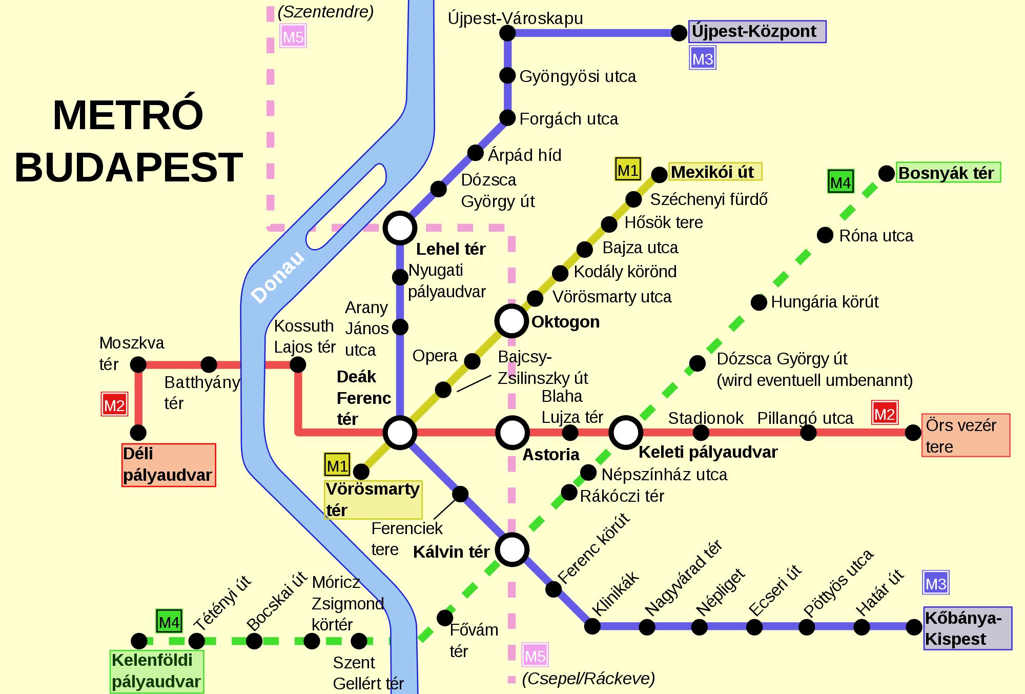 Plan du métro de Budapest, Hongrie