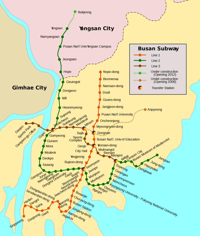Mapa del metro de Busan Gran resolucion