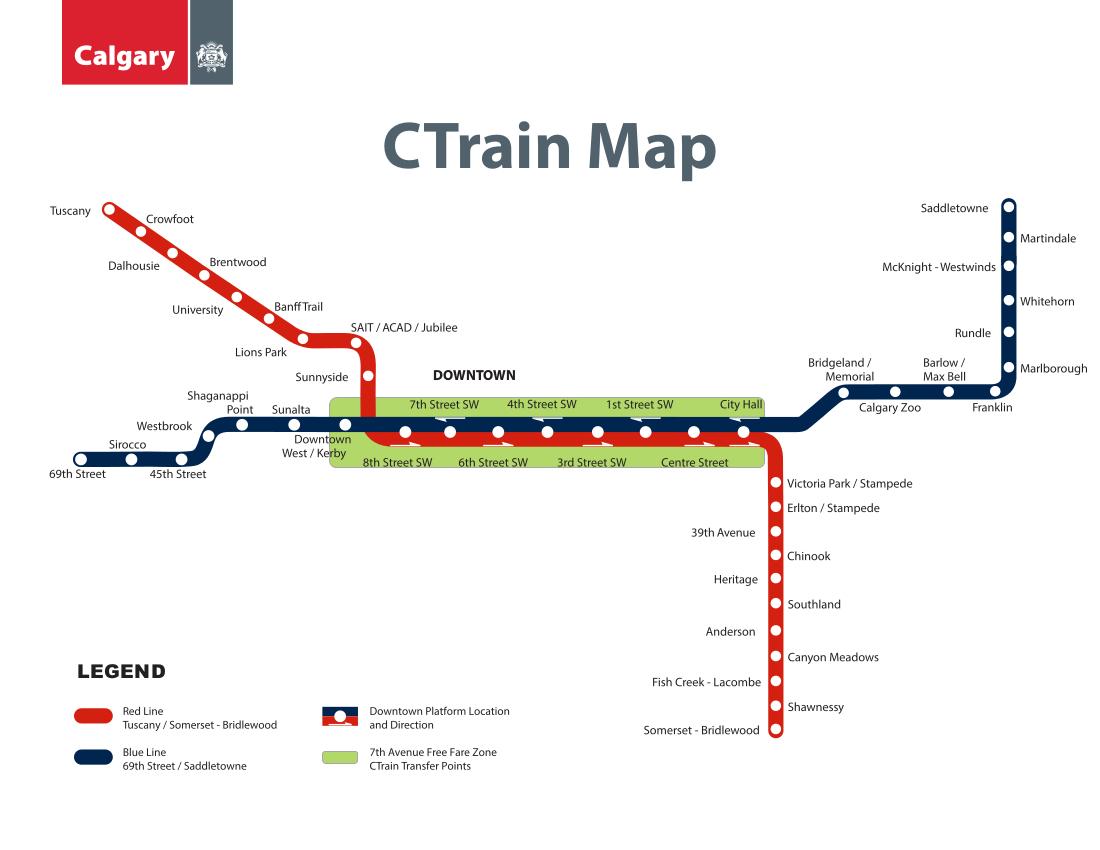 Calgary Subway Map.C Train Calgary Metro Map Canada