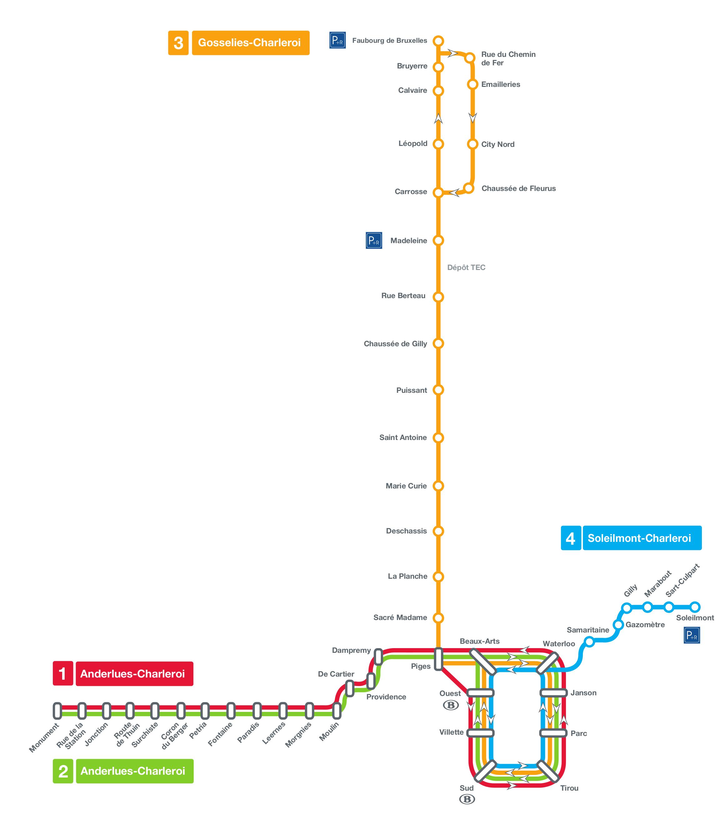 Charleroi metro map, Belgium