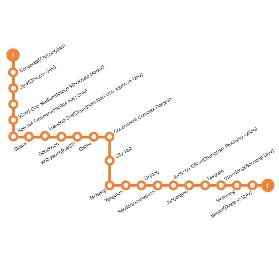 Korean Subway Map 2015.Subway Daejeon Metro Map South Korea