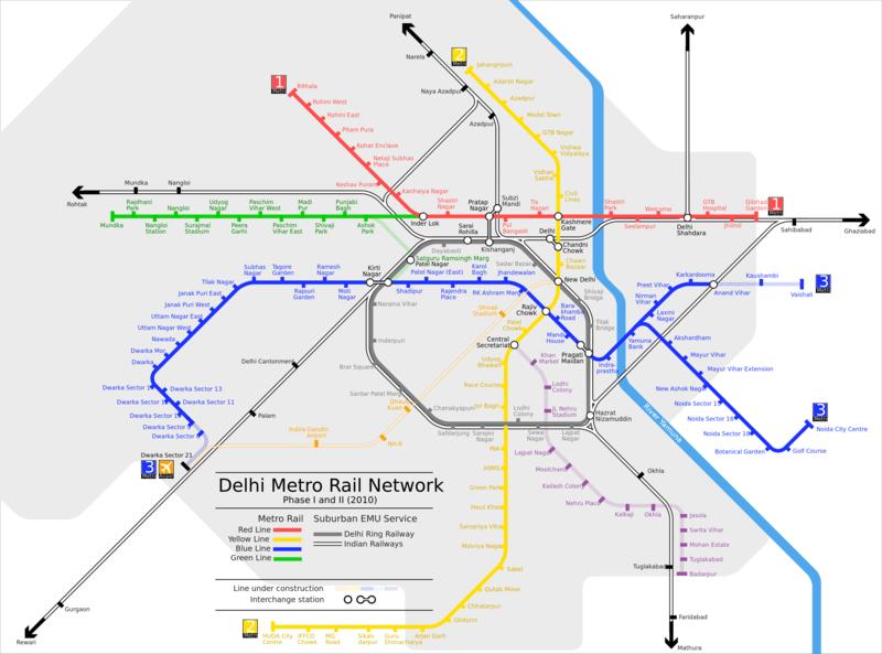 Mapa do metro de Delhi Alta resolução