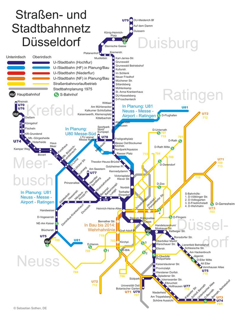Plan du métro de Dusseldorf grande résolution