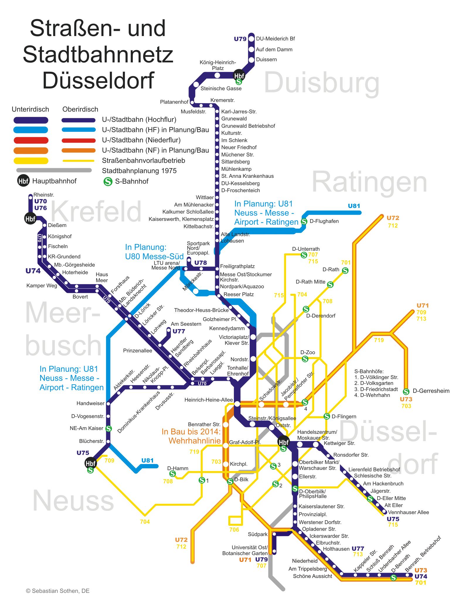 düsseldorf u bahn karte Stadtbahn: Dusseldorf metro map, Germany