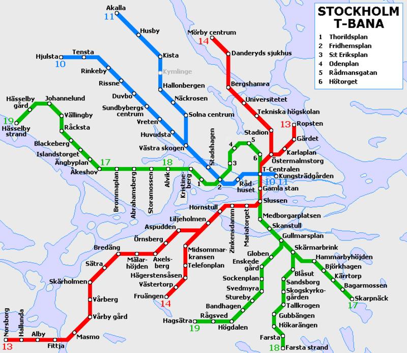t bana stockholm karta Tunnelbana: Stockholm metro map, Sweden t bana stockholm karta
