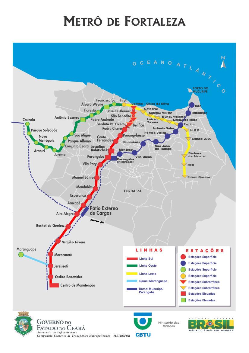 Fortaleza metro map Brazil