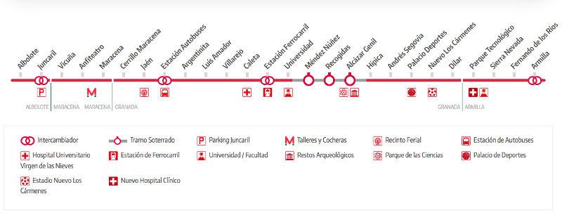 Metro map of Granada Full resolution