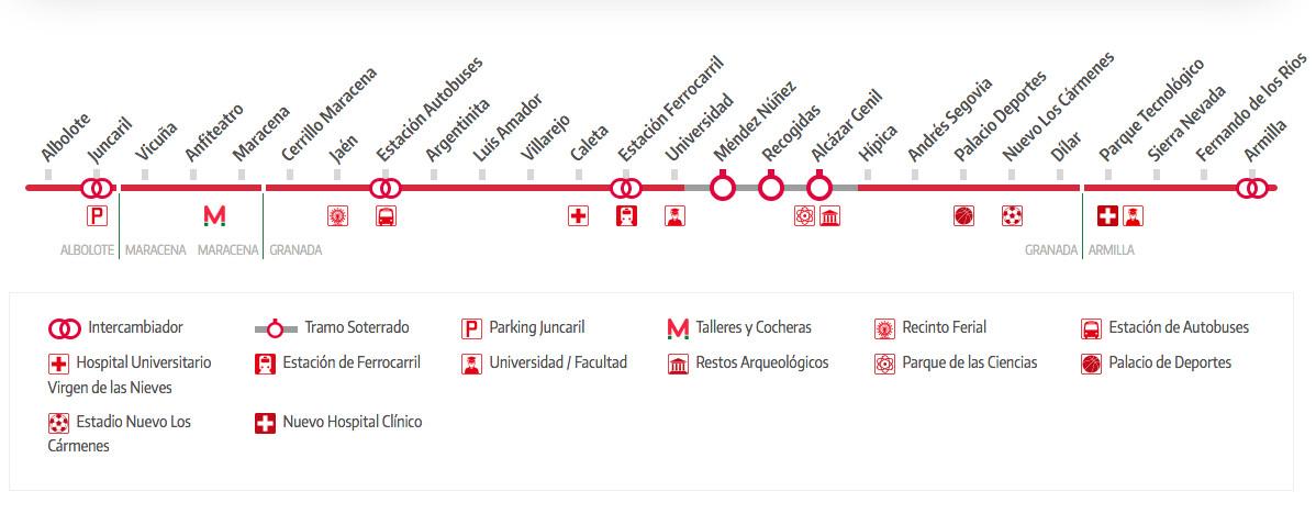Spanish Metro Map.Granada Metro Map Spain
