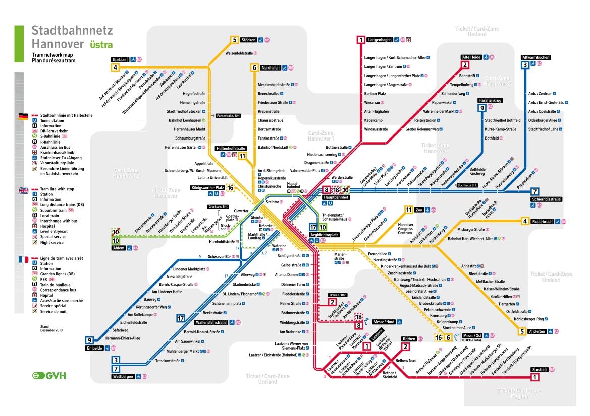 hannover zonen karte Stadtbahn : Hannover U Bahn Karte , Deutschland