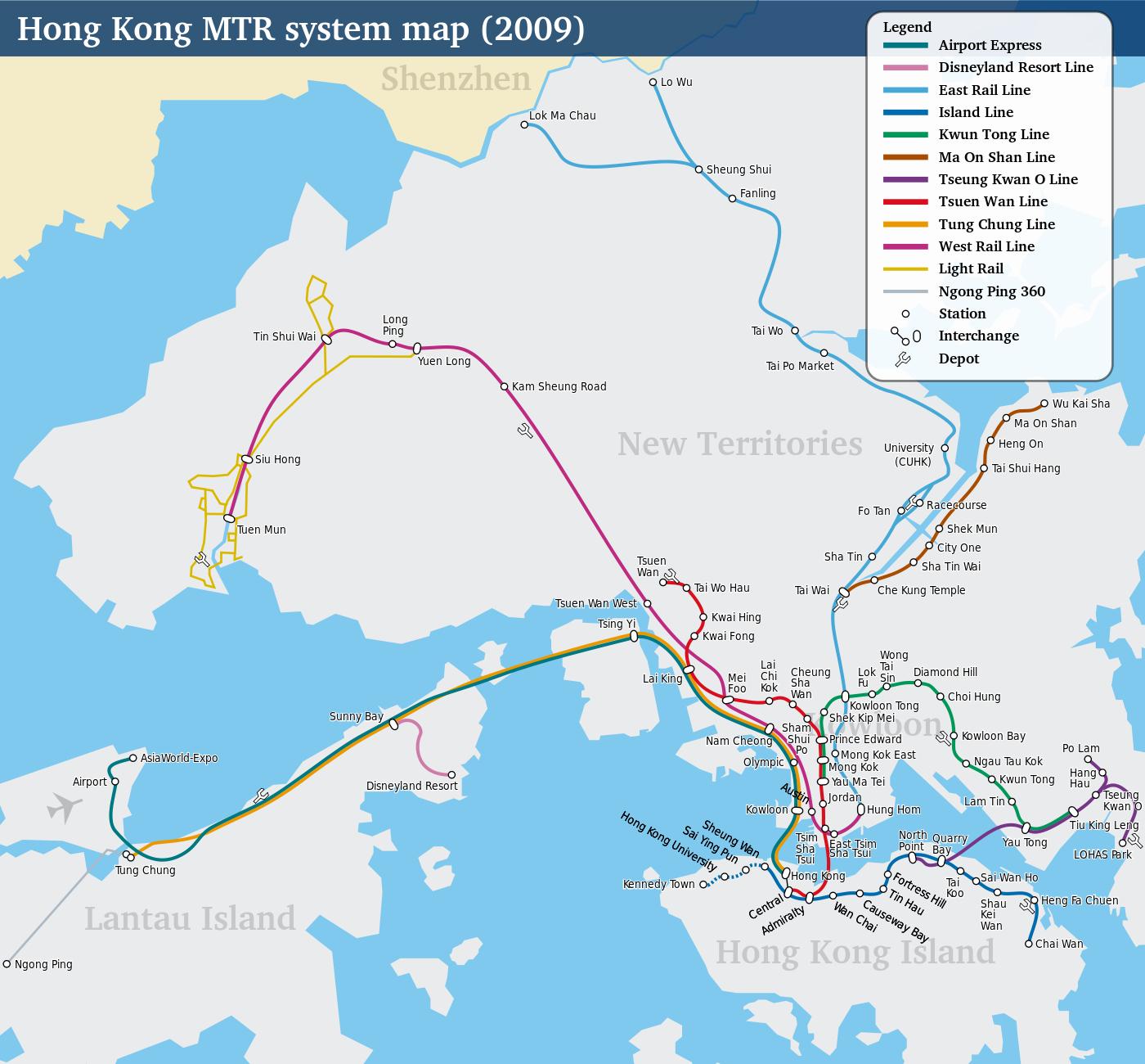 MTR :plan du métro de Hong Kong, La Chine
