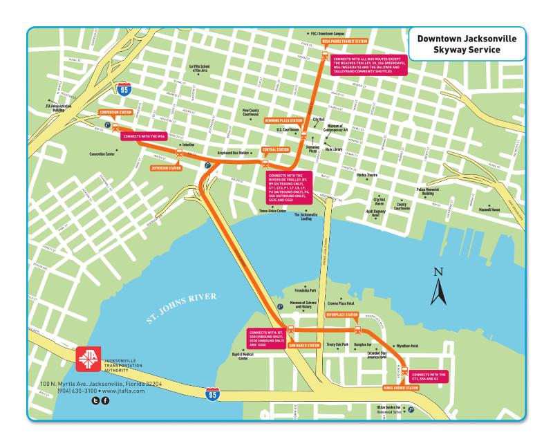 Mapa do metro de Jacksonville Alta resolução