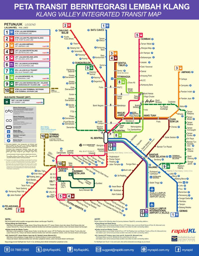 Lrt Monorail Kuala Lumpur Metro Map Malaysia
