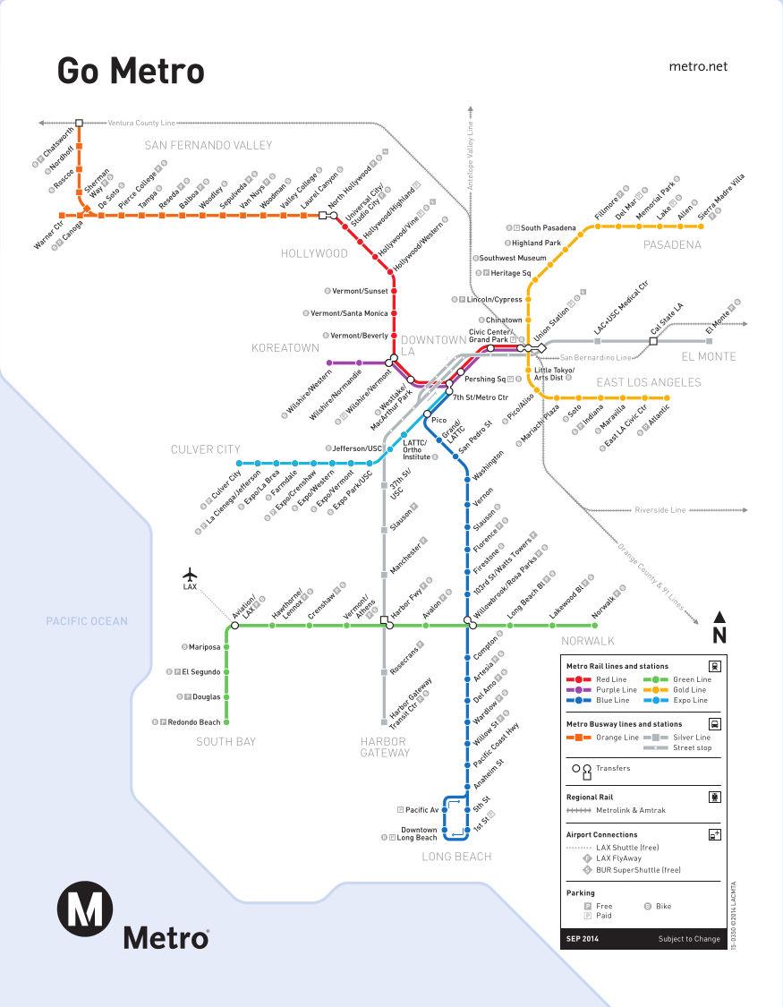Subway Map Of Los Angeles.Metro Rail Los Angeles Metro Map United States