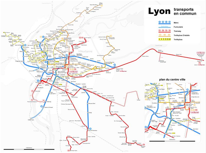 Mapa del metro de Lyon Gran resolucion