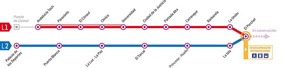 Spanish Metro Map.Malaga Metro Map Spain