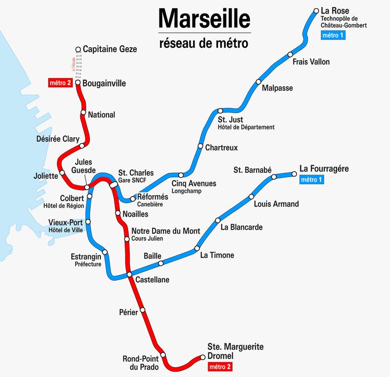 Mapa del metro de Marsella Gran resolucion