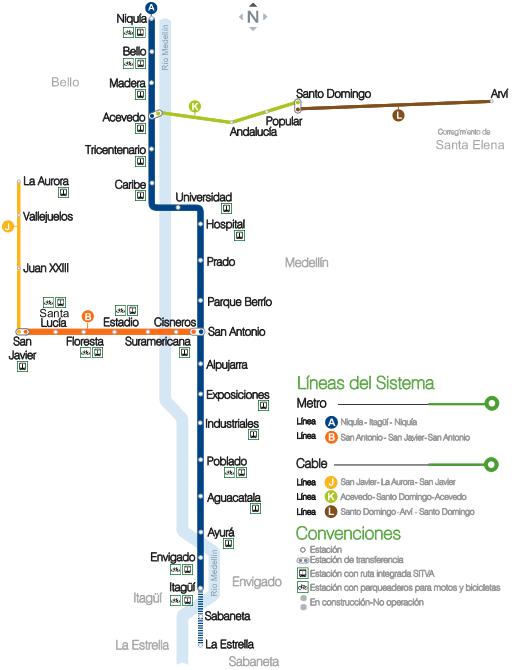 Santo Domingo Metro Map.Medellin Metro Map Colombia