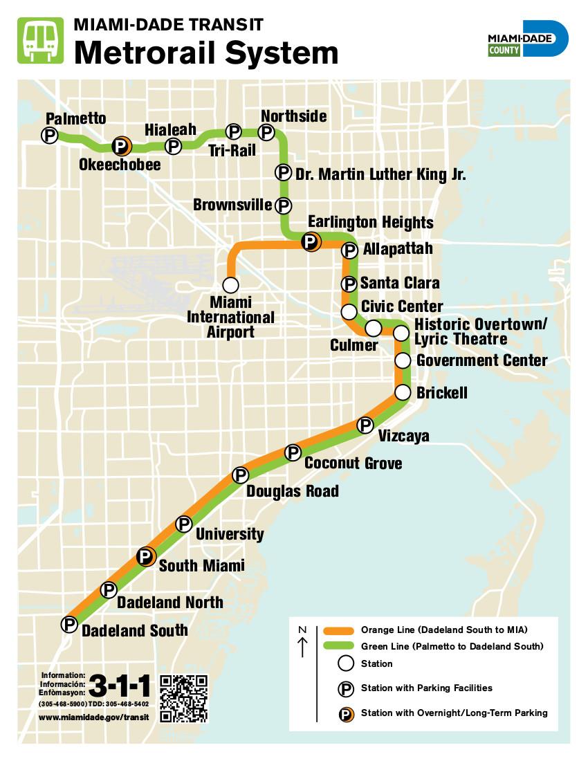 mappa di metrorail di miami, stati uniti