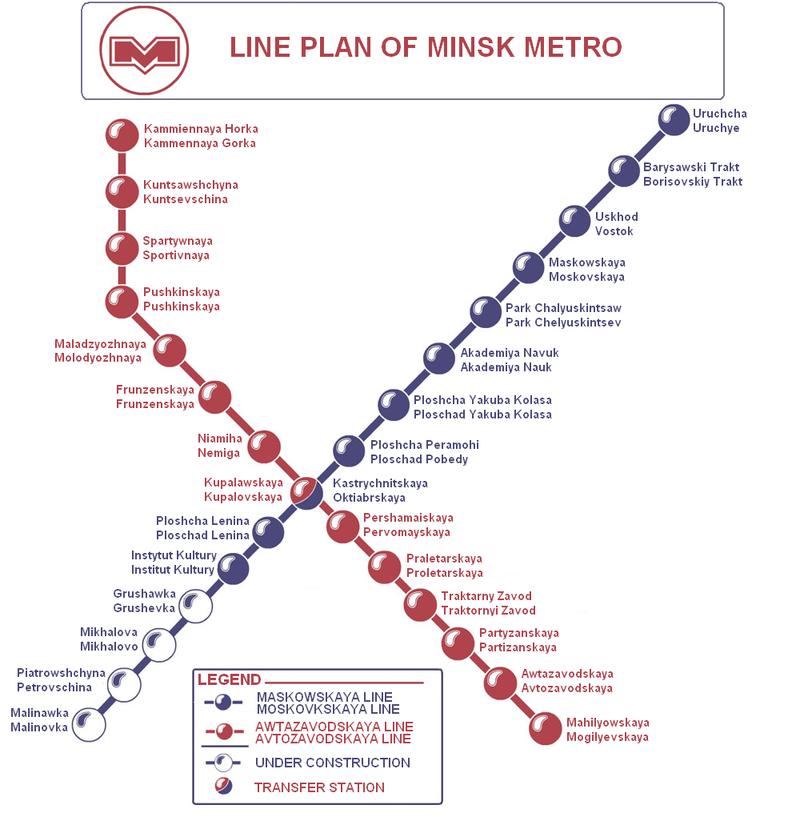 Mapa del metro de Minsk Gran resolucion