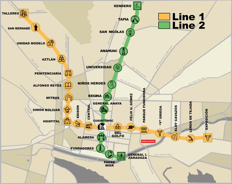 Mapa del metro de Monterrey Gran resolucion