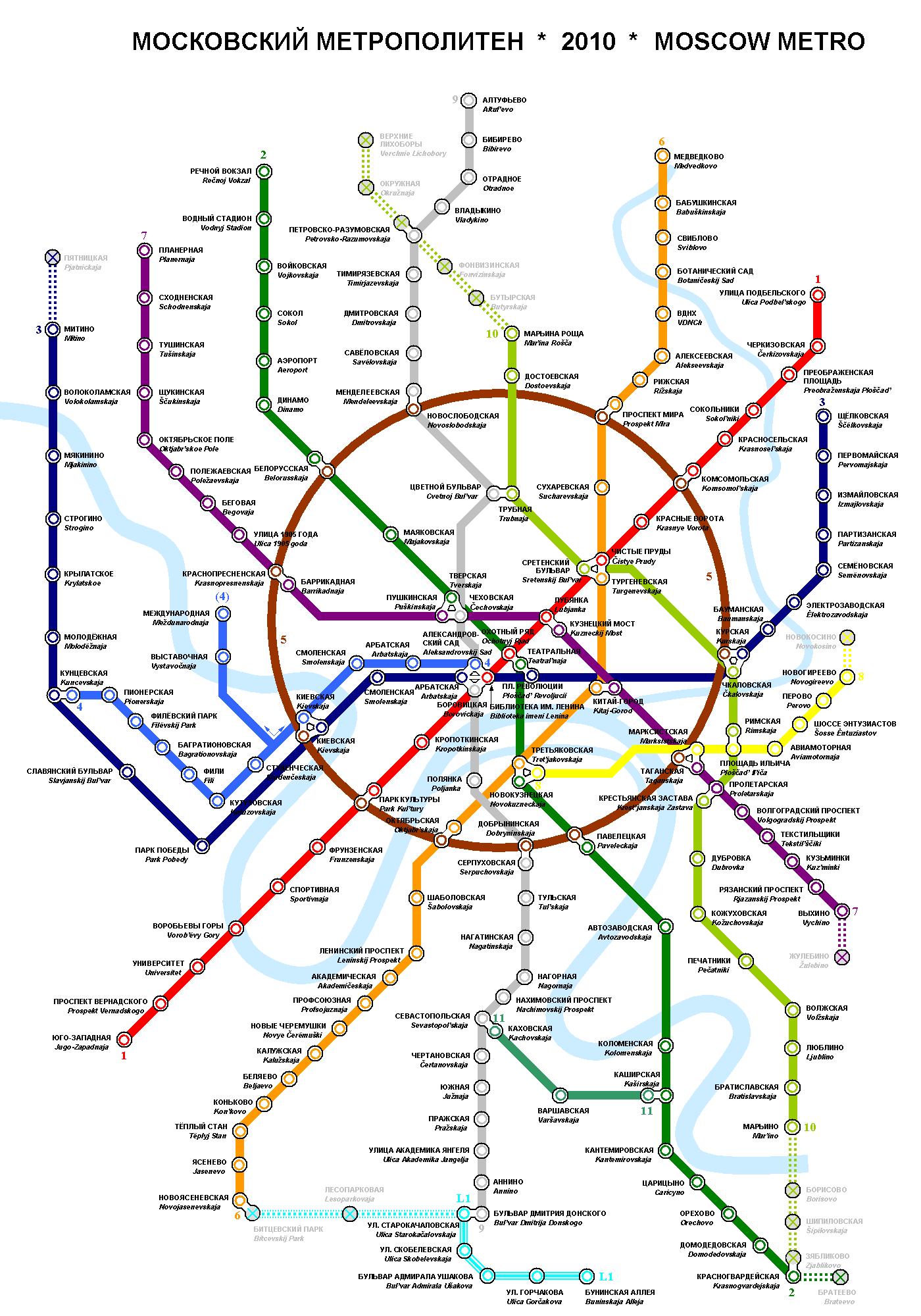 Plan du métro de Moscou, La Russie