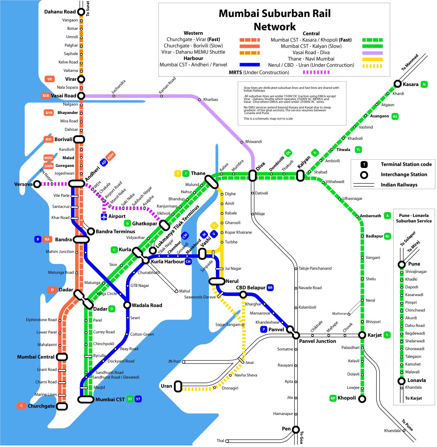 Mumbai Subway Map.Suburban Railway Mumbai Metro Map India