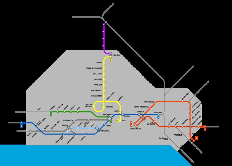 Mapa del metro de Napoles Gran resolucion