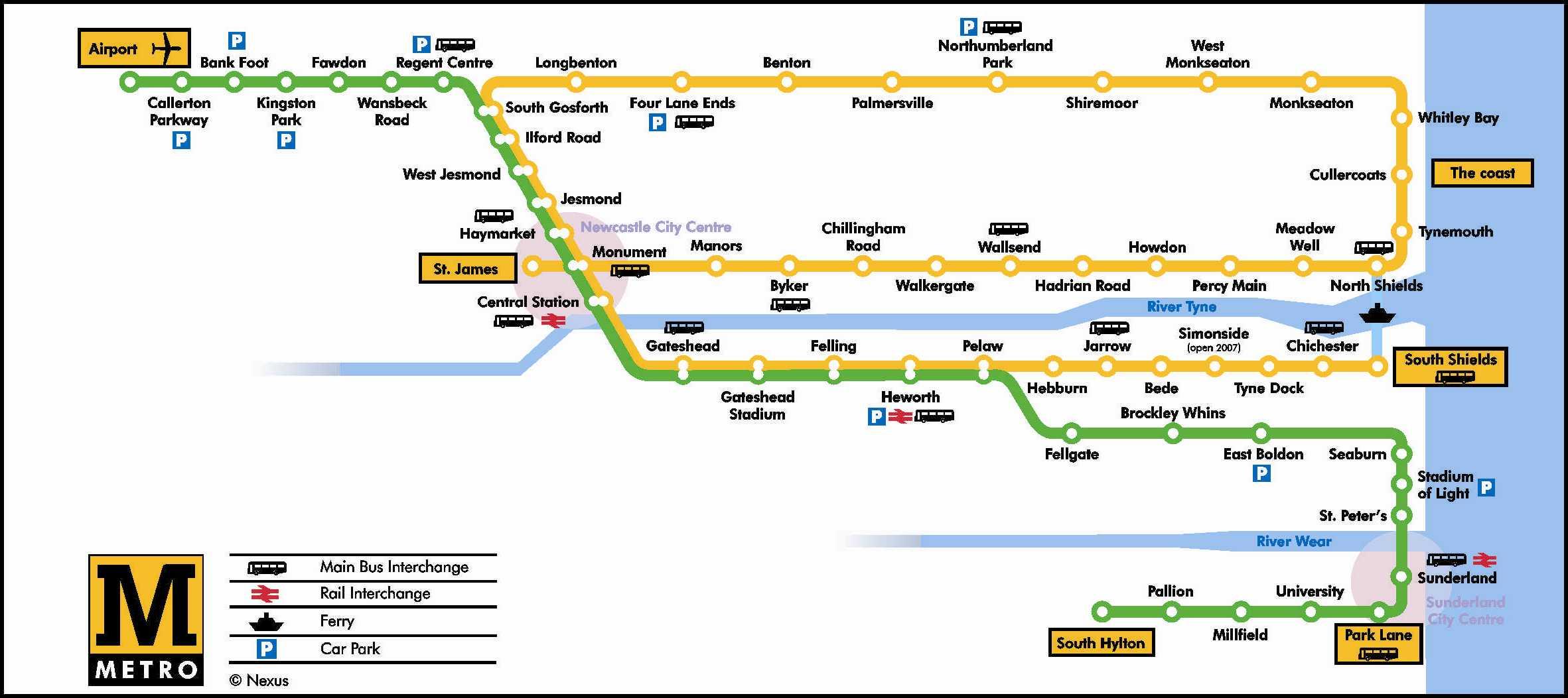 Metro Newcastle Map Newcastle metro map, England