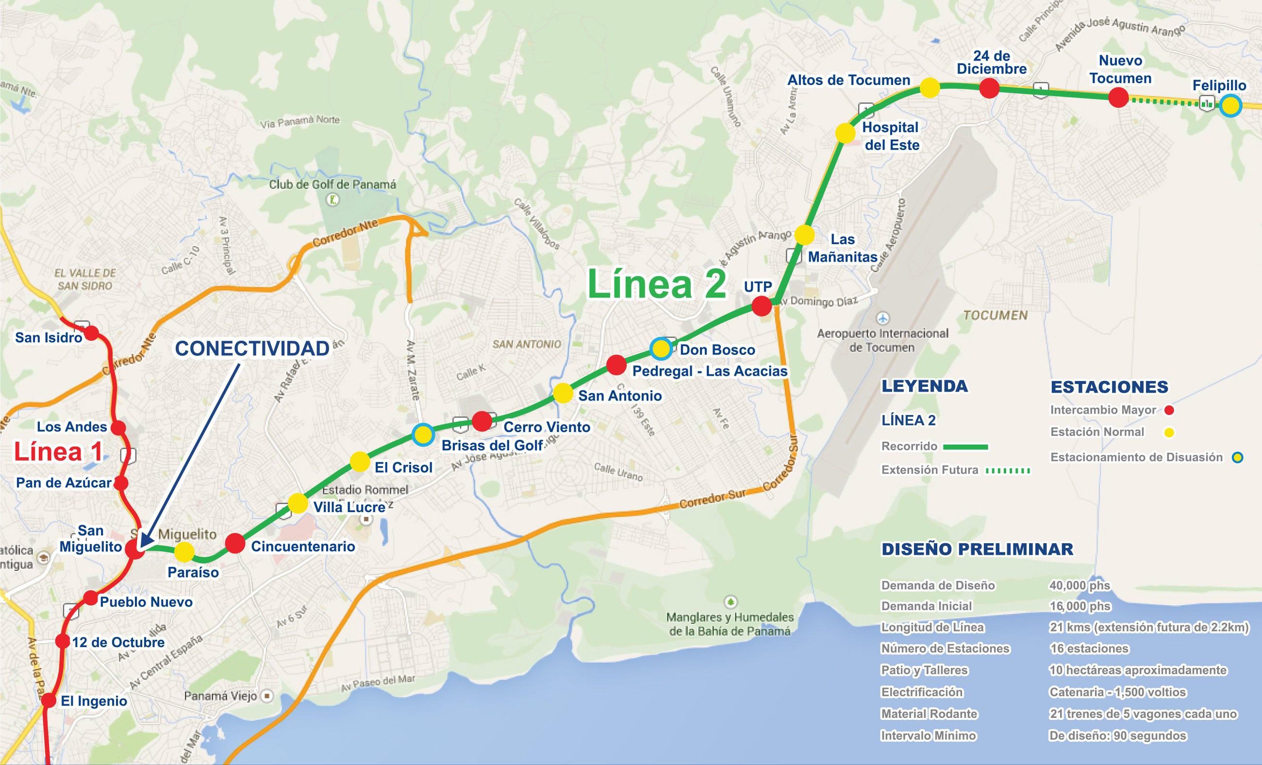 Panama metro map Panama