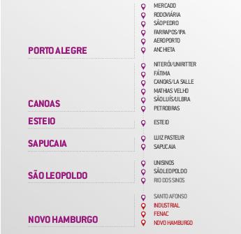 Mapa do metr de Porto Alegre Brasil