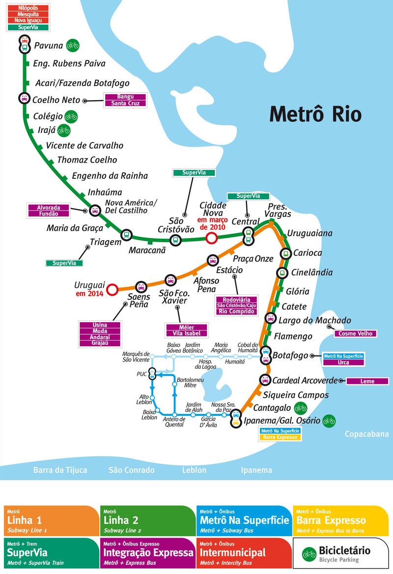 U-Bahn karte Rio de Janeiro voller Auflösung