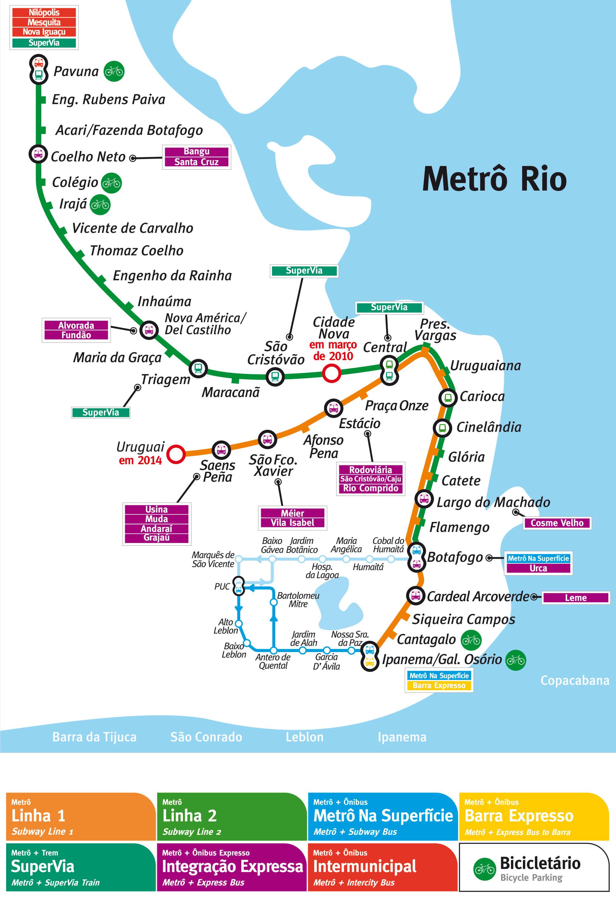 metro rio de janeiro mapa Rio de Janeiro metro map, Brazil metro rio de janeiro mapa