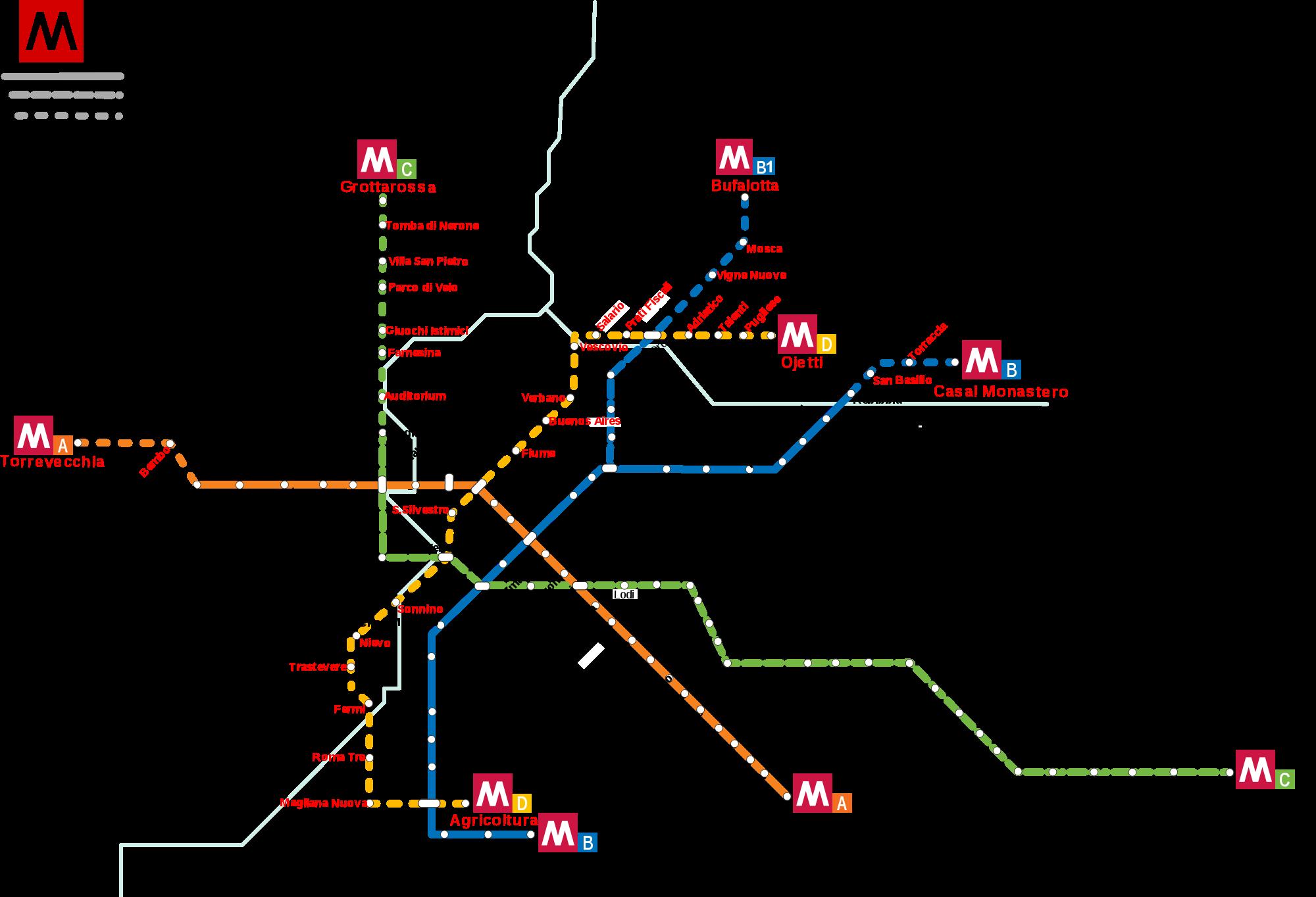 Rome Metro Map Italy