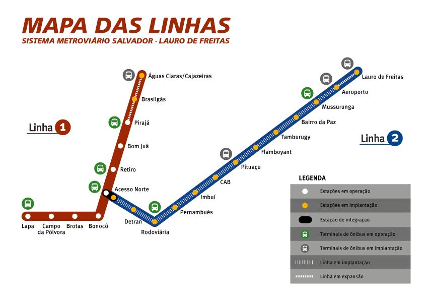Salvador metro map Brazil
