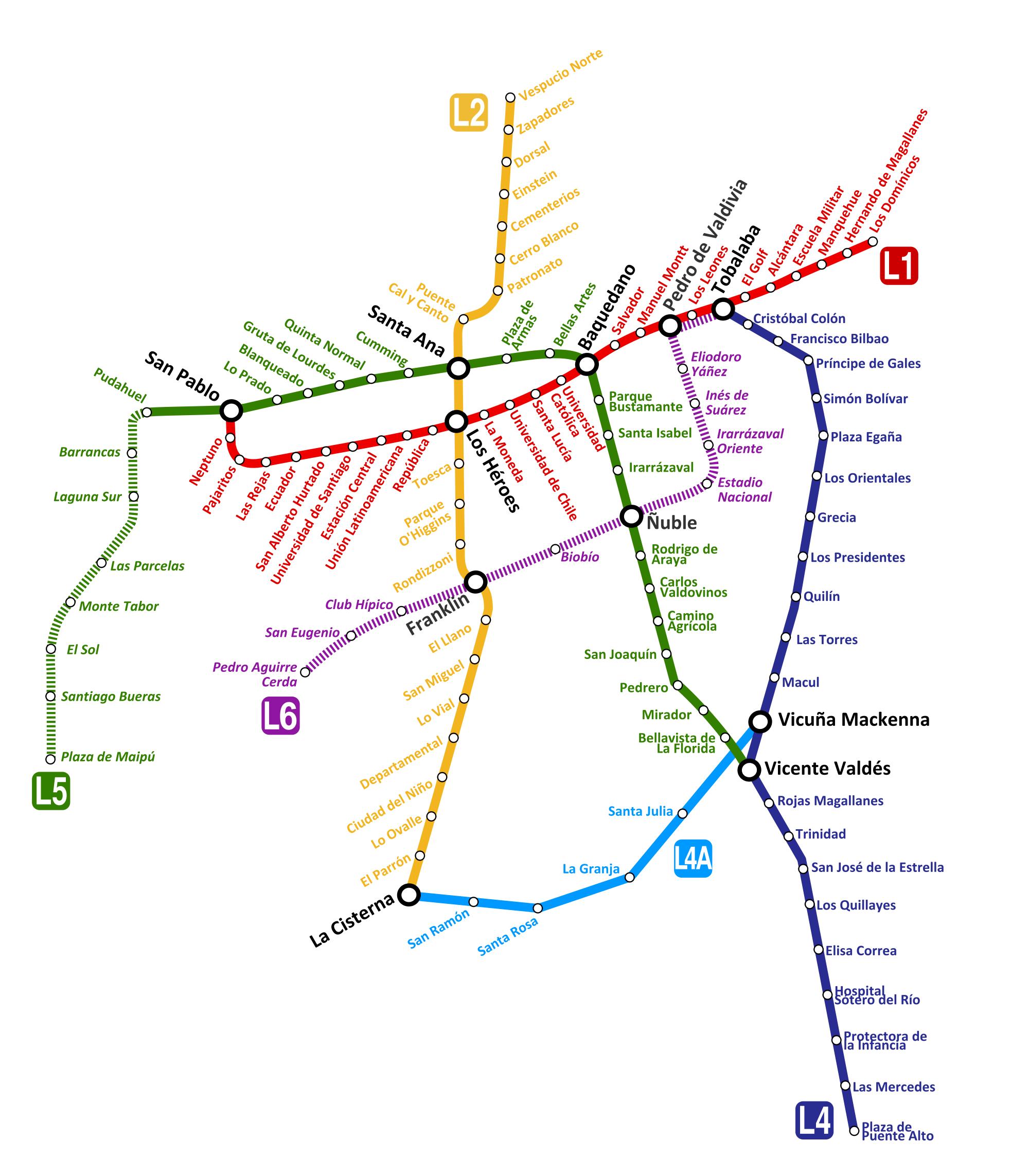 Santiago De Chile Mapa Del Metro Horarios Y Tarifas
