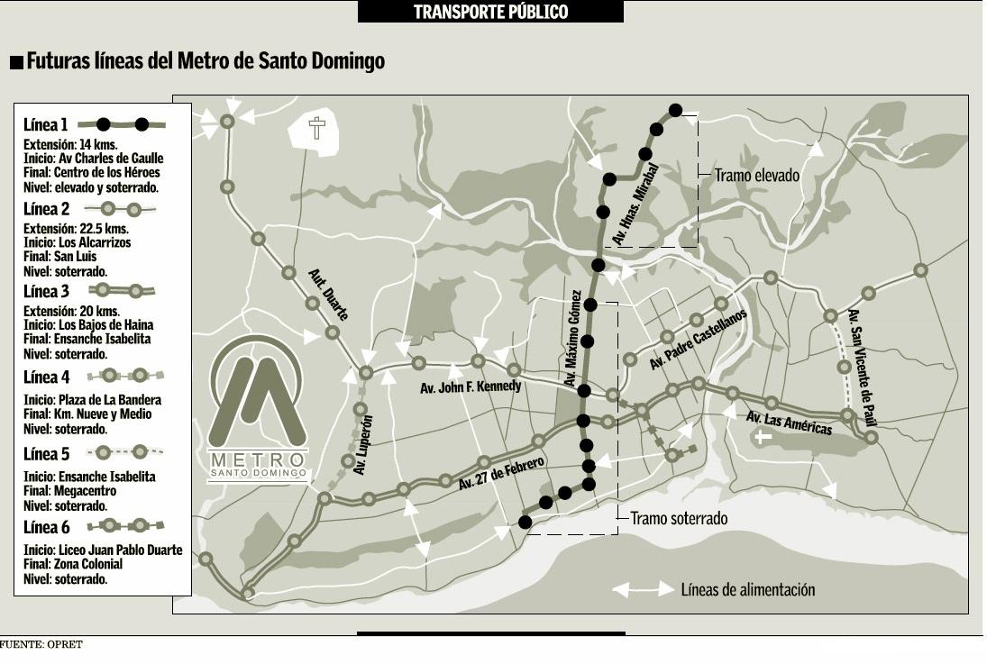 Santiago Subway Map.Santo Domingo Metro Map Dominican Republic