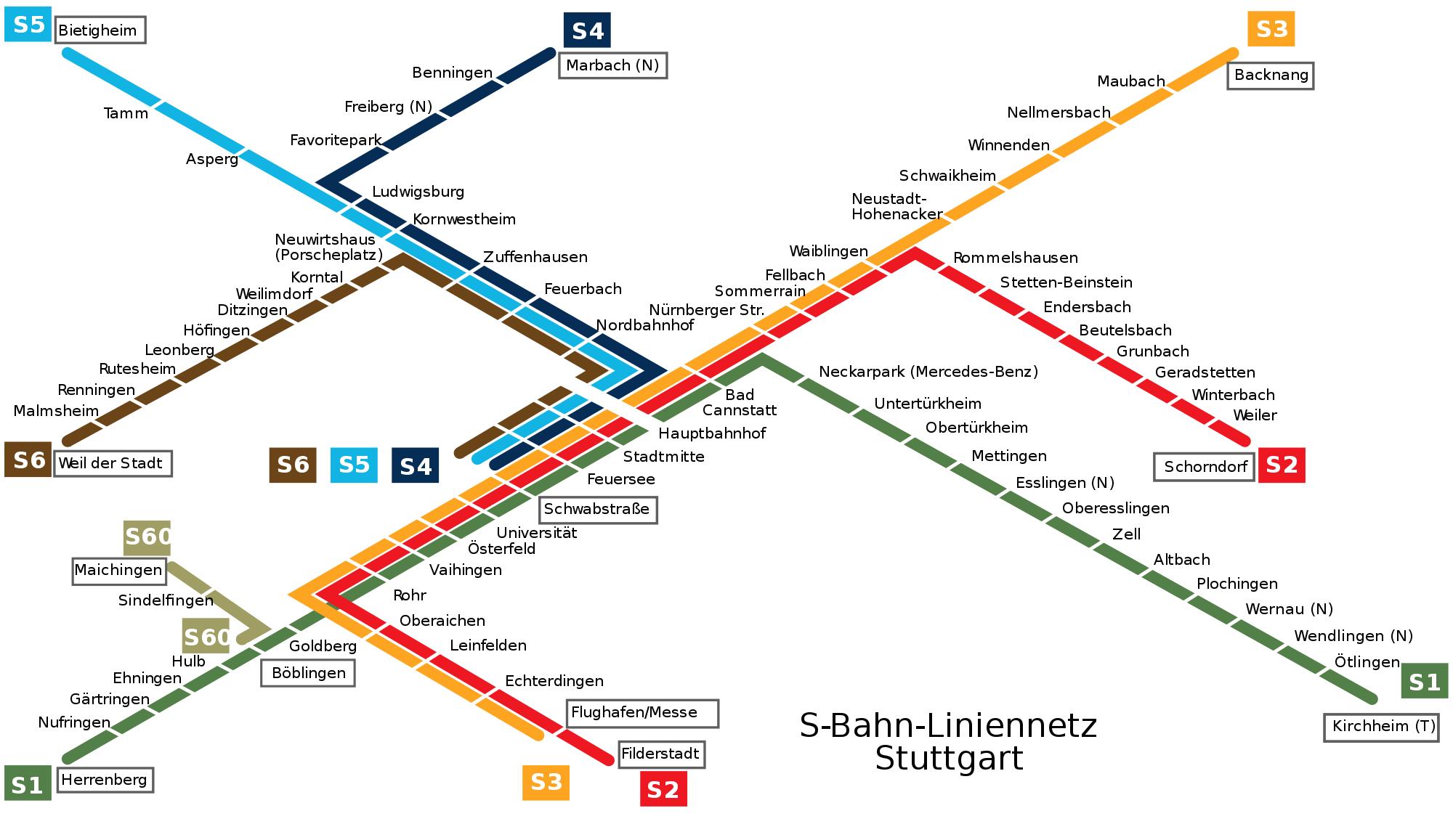 Stadtbahn Stuttgart metro map Germany