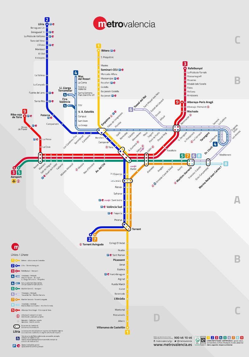 Valencia U Bahn Karte Spanien