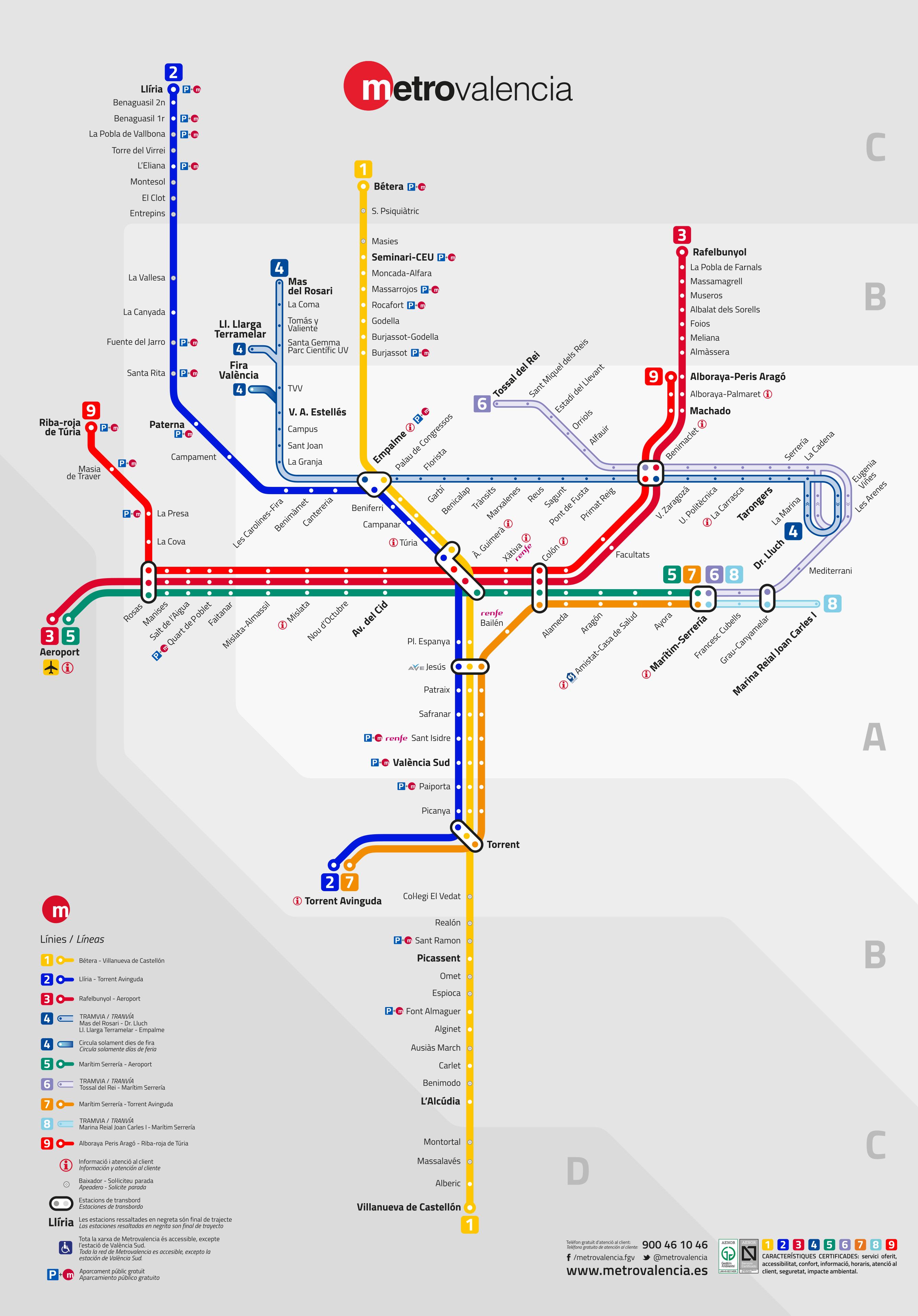 Mapa Zona Azul Valencia.Mapa Del Metro De Valencia Espana